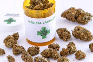Medical Cannabis or Marijuana on a table.